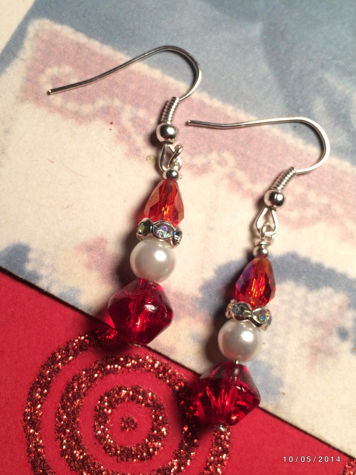 Christmas Santa Claus Bead Earrings