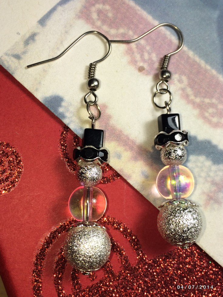Christmas Snowman Stardust Bead Earrings