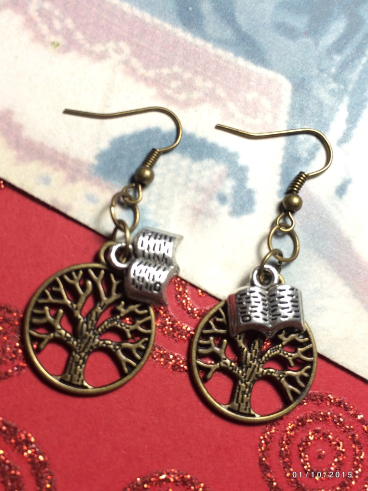 Bronze Tree Of Life Book Of Spells Earrings
