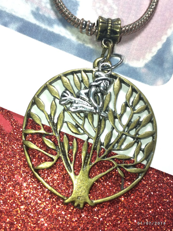 Bronze Tree Of Life Flying Witch Charm