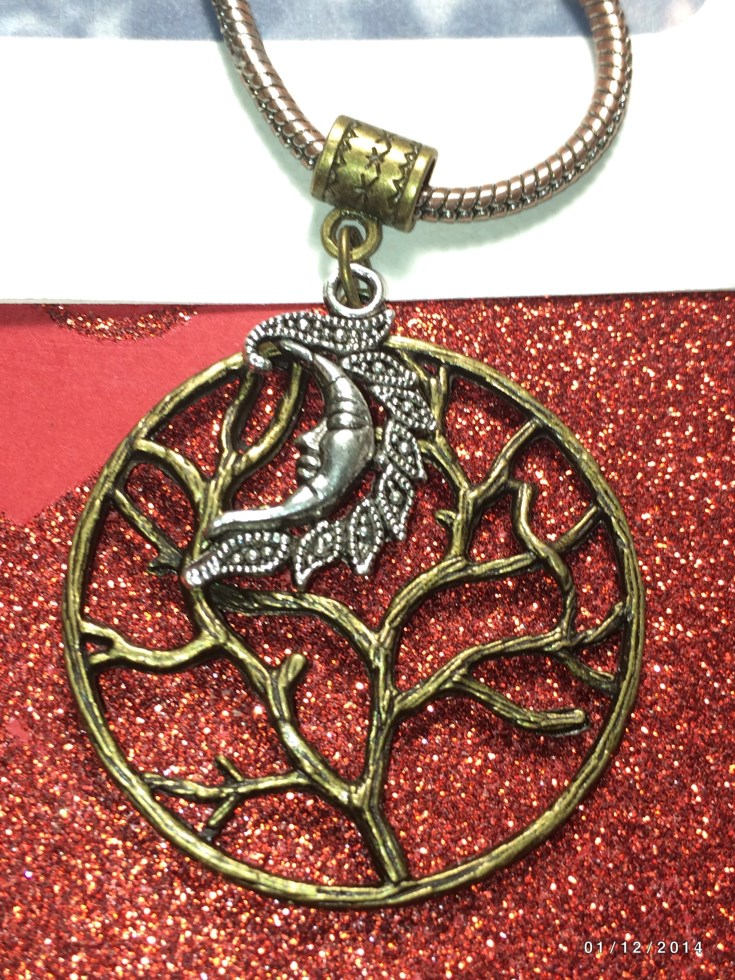 Bronze Tree Of Life Silver Moon Charm