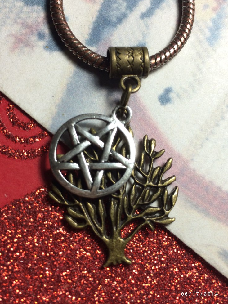 Bronze Tree Of Life Silver Pentacle Charm