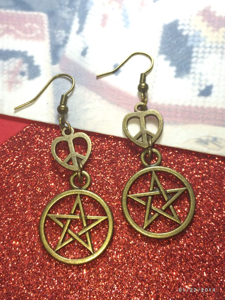 Love Peace Pentacle Earrings
