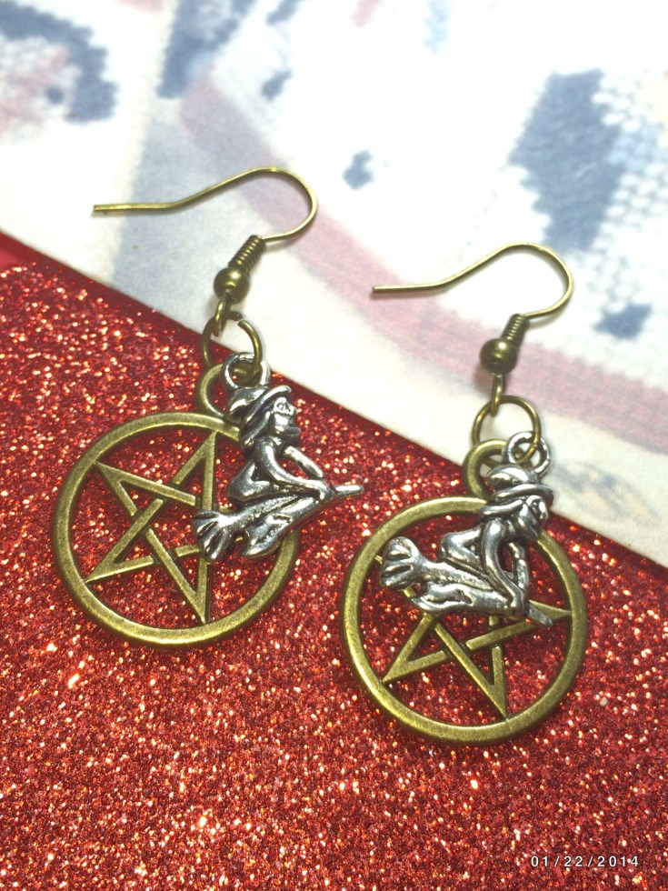 Halloween Flying Witch Pentacle Earrings