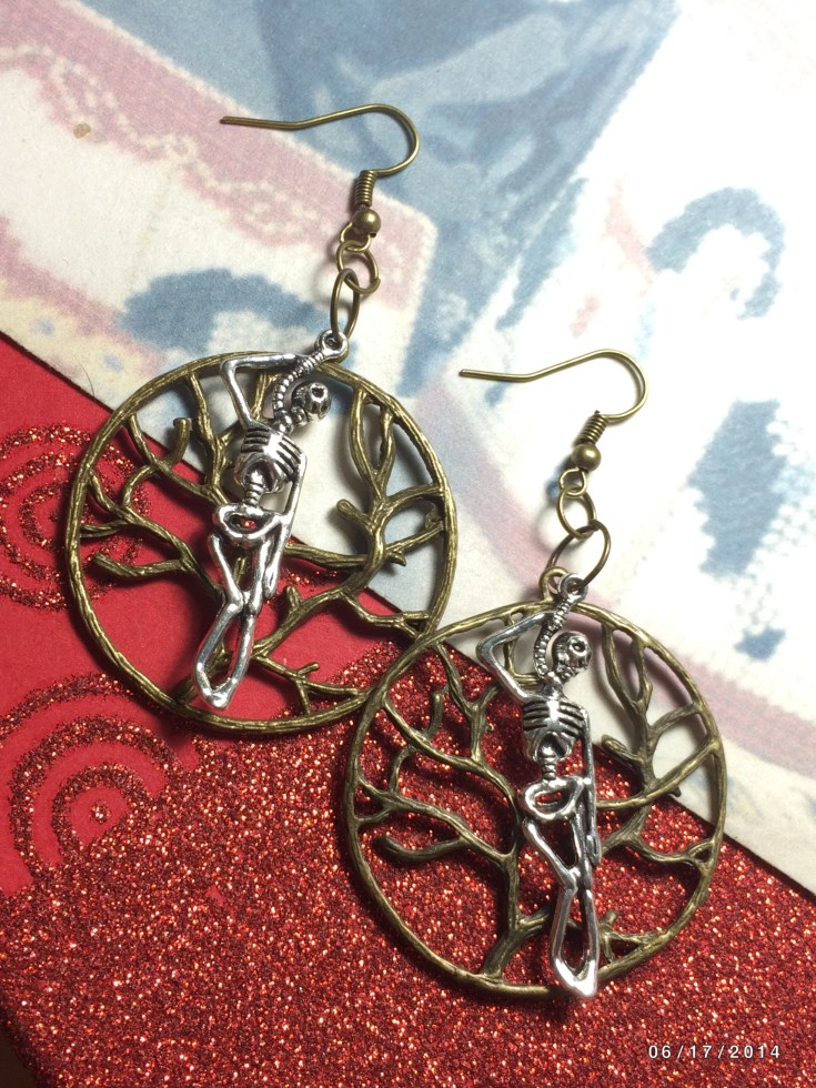 Halloween Tree of Life Hung Skeleton Earrings