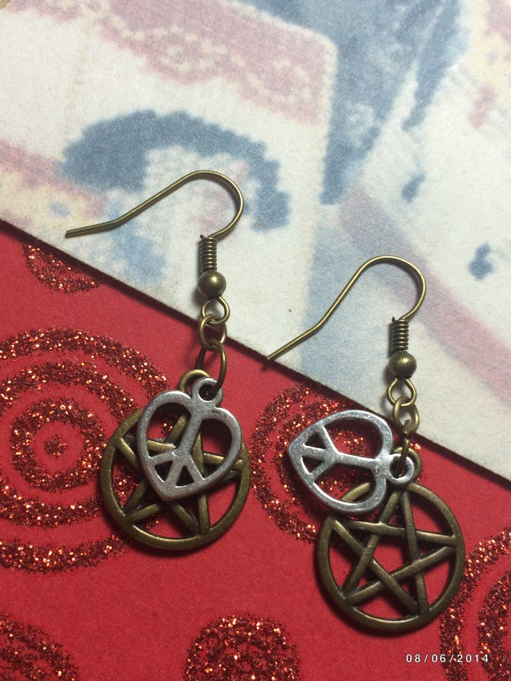 Love Peace Wicca Pentacle Earrings