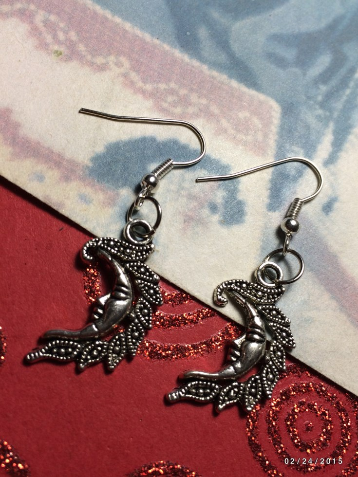 SIlver Moon Earrings & Charm