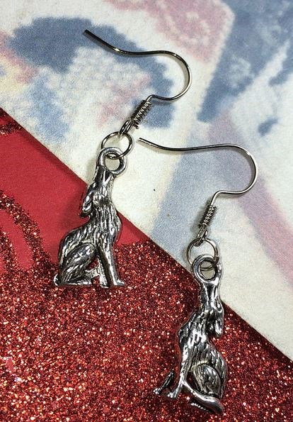 Twilight Wolf Earrings & Charm