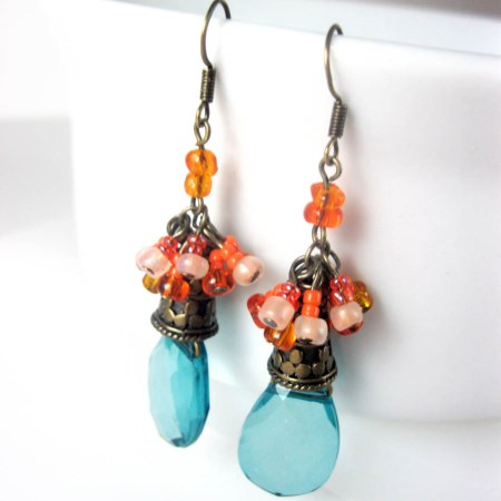 Teal and Tangerine Tropical Dangle Earrings
