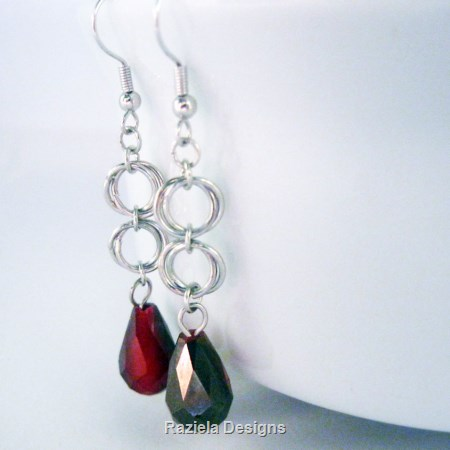 Silver Chainmaille Dangle Earrings with Red Drops