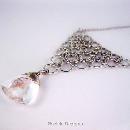 Silver Chainmaille Necklace with Crystal Drop