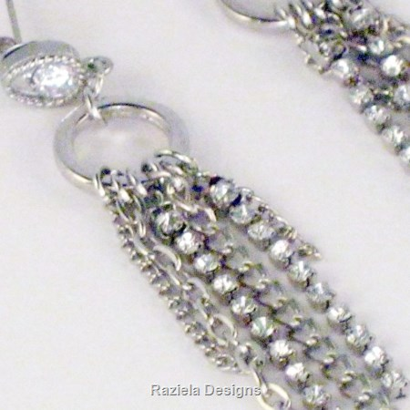 Silver Chain and Rhinestone Dangle Earrings