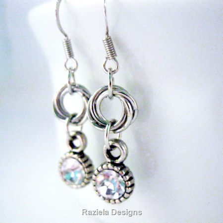 Silver Infinity Chainmaille Dangle Earrings