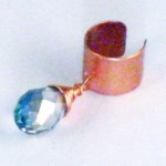 Copper Ear Cuff with Swarovski Crystal Dangle