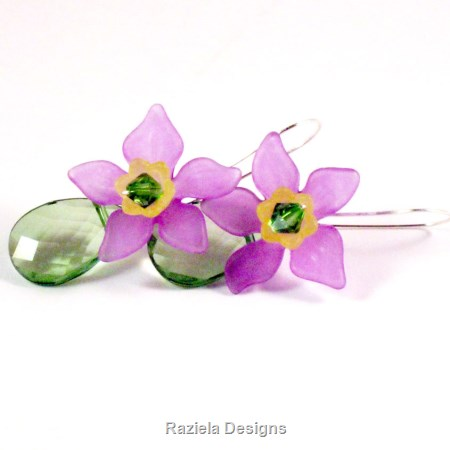 Purple and Green Floral Dangle Earrings