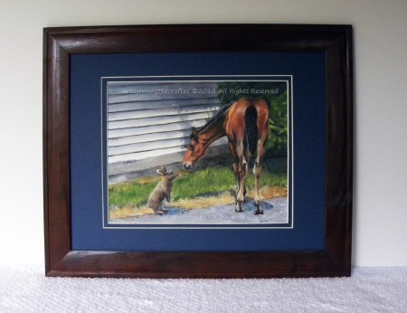 SOLD! Framed Painting Horse Illustration