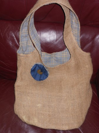 REVERSIBLE Burlap Hobo/Slouch Bag