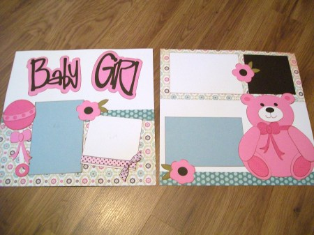 Baby Girl Premade Double-Page Scrapbook Layout