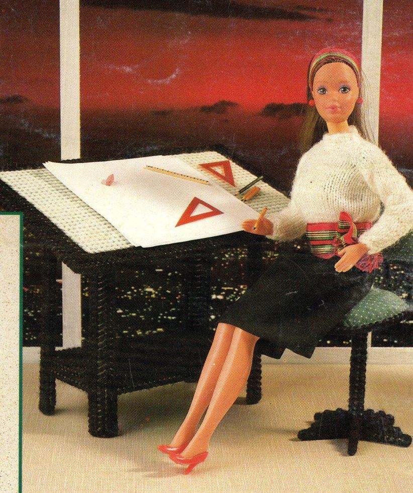 Barbie Office Digital Plastic Canvas Pattern