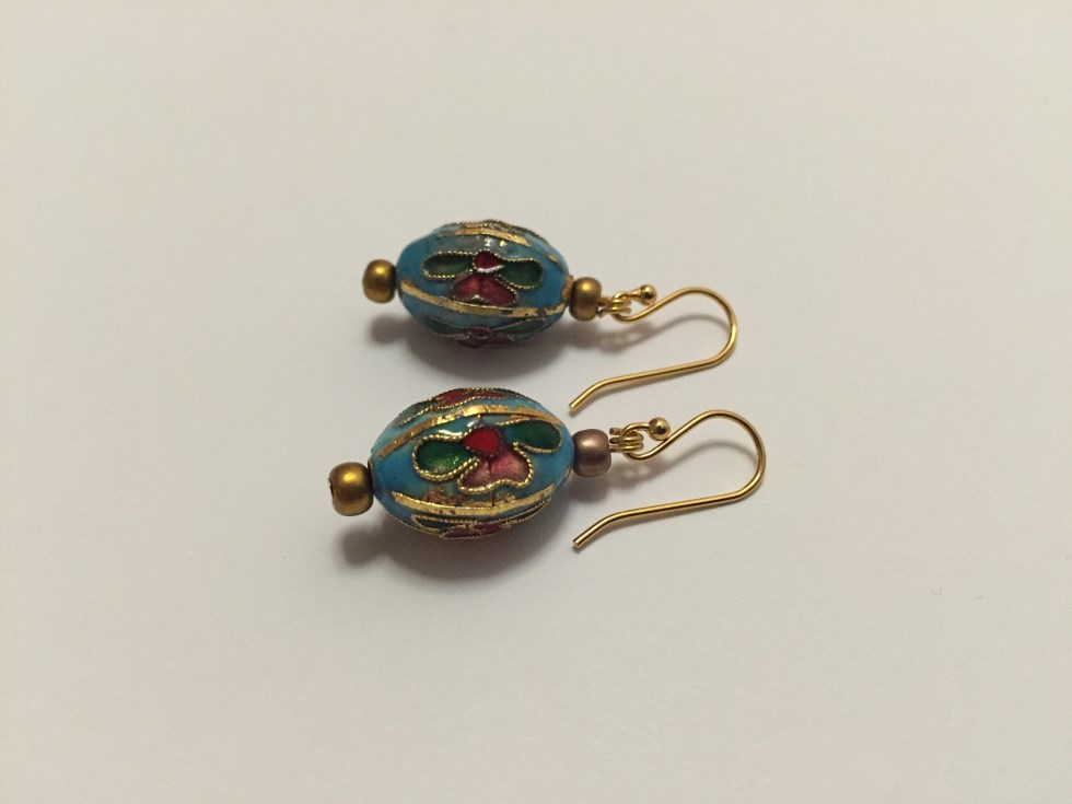 Cloisonne inspired flower earrings