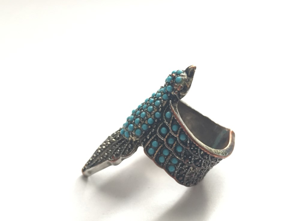 Turquoise colored bird ring