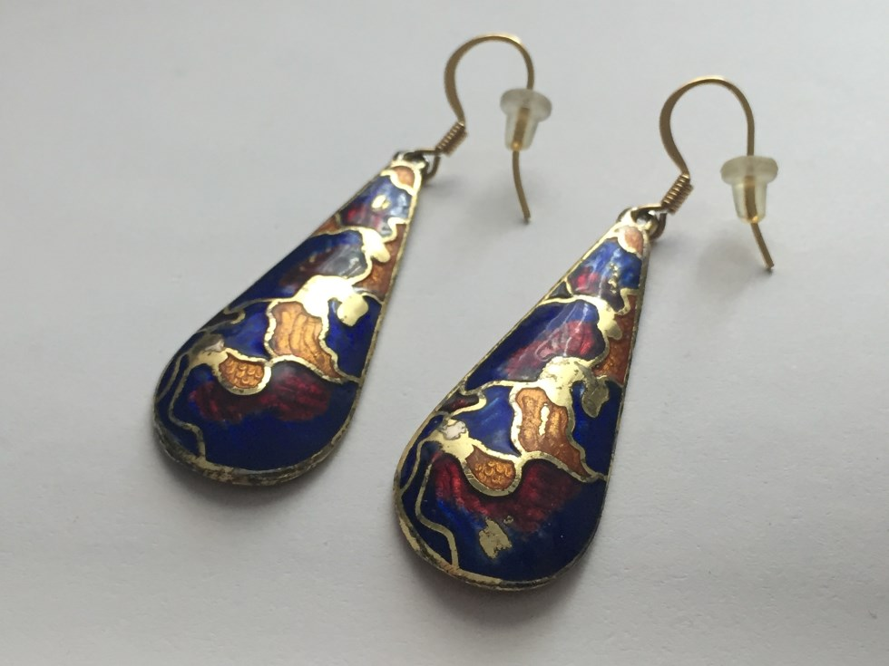 Cloisonne inspired drop earrings