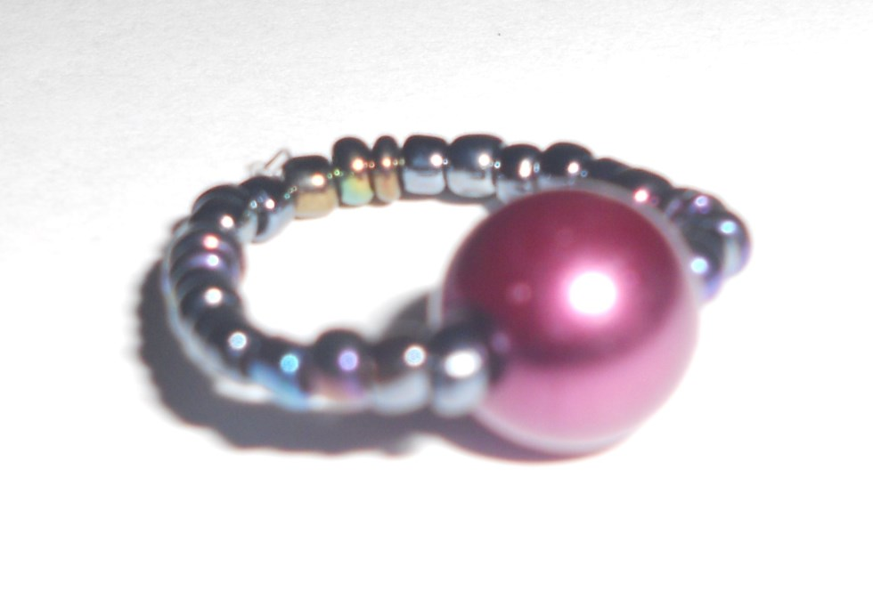 Magenta Beaded Stretch Ring-Small